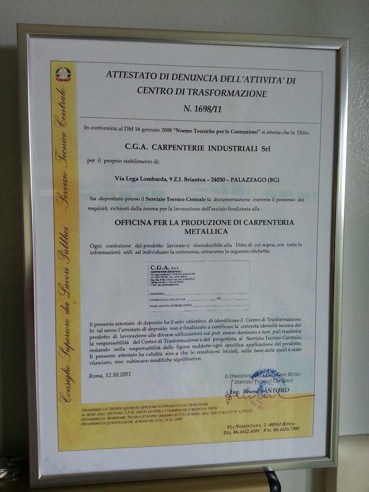 Attestato di Denuncia dell'Attività di Centro di Trasformazione N. 1698/11