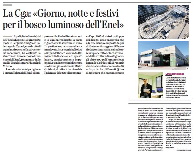 """Articolo su """"L'Eco di Bergamo"""" di maggio 2015"""